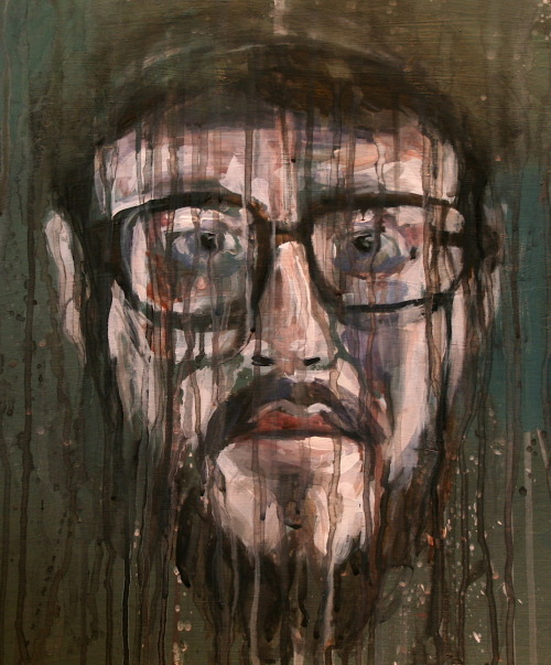 bathroomstallpoetry:  kellyneibert:  Wesley: In progress. Acrylic and watercolor on panel. 2012  Hey look! It's me! If you aren't following my friend Kelly, you should. She is a brilliant artist, and my favourite barista. That, and she is painting me.