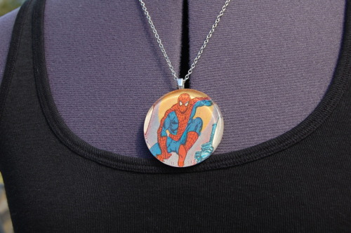 Added the first batch of necklaces to my Etsy shop! These all feature Marvel characters cut right from the pages of Marvel comics published in the 1980s. So they're really unique one of a kind necklaces.