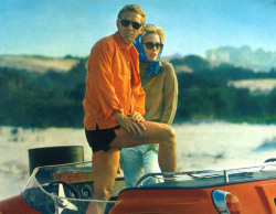 Steve McQueen and Faye Dunaway looking suave in springtime shades.