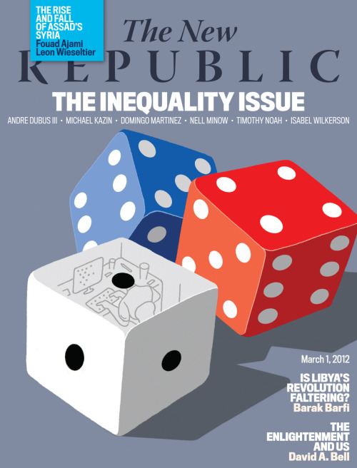 "The New Republic's special on inequality is out! In our cover story, ""The Mobility Myth,"" we feature excerpts from   TNR  Senior Editor Timothy Noah's forthcoming book The Great Divergence. In addition, the inequality issue features riveting pieces by Andre Dubus III, Nell Minnow, and Isabel Wilkerson. Also, don't miss Timothy Noah's TRB column on Mitt Romney's handling of the Salt Lake City Winter Olympics and Molly Redden's profile of the eccentric billionaire bankrolling Rick Santorum's candidacy. Be sure to check out TNR's Books and Arts section for detailed book  reviews, including: Isaac Chotiner on the Mumbai slums, Fouad Ajami on the power of a Syrian novel, and Leon Wieseltier on what the United States should do about the uprising in Syria. Subscribe to TNR Society today and get 20 issues/year, access to our archives, and TNR events invitations for only $2.25/issue. Be sure to follow us too on Facebook and Twitter!"