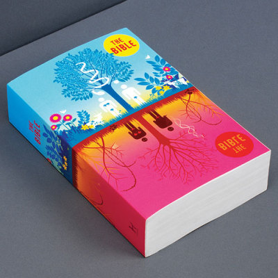 Interesting take on the book design of the Bible. I'm a fan of the simplicity of the gold lettering on black, but it's a breath of fresh air to see something new. It all of a sudden looks pretty cool to read. Seems like I'm not intimidated anymore.  -Image provided by The Daily Heller