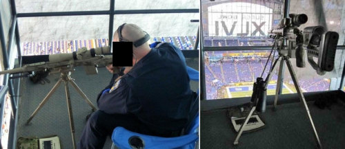 The Sniper's Nest At Super Bowl XLVI  I suppose this makes sense, so why is it so morbid and shocking? Perhaps because every aspect of the Super Bowl is supposed to symbolize some element of the broader culture? Deadspin stumbled upon some photos of the armed-and-ready-to-shoot man who watches while you watch the big game:  According to Business Insider, the photos were taken by a ranking member of the Indianpolis SWAT team, and obtained by Alamo Four Star, maker of the tripod.