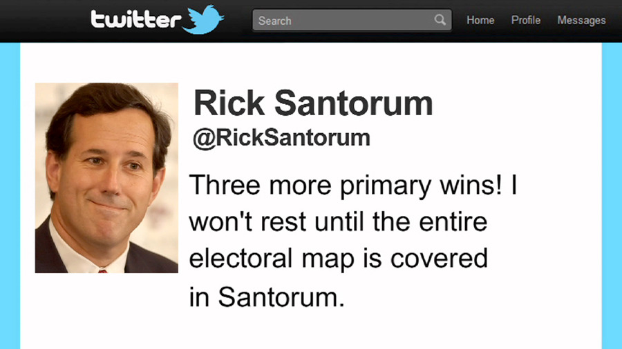 Rick Santorum's regrettable tweet. [more photos here]