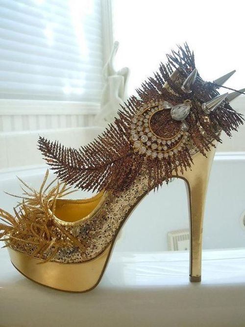Gold heels by SpikesByG Design on Etsy