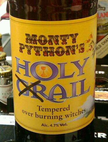 "brewnoob:  Beer geeks rejoice! Monty Python's Holy Ail ends your quest to find what may be the world's geekiest beer. It's also been ""tempered over burning witches"", although I'm not sure if that would improve the flavor… (Photo credit: Holy Ail by Stuart L Ruffell on Flickr)   Must find this."