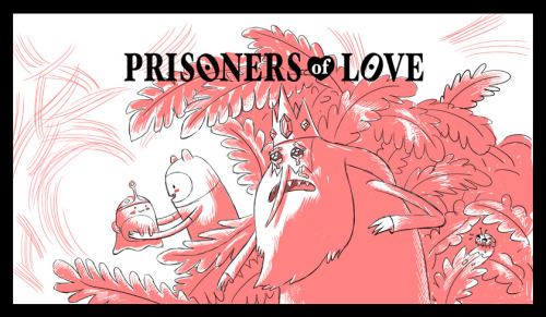 "Adventure Time - ""Prisoners of Love"" (2010) directed by Larry Leichliter title art designed by Phil Rynda, painted by Paul Linsley Click to enlarge and you'll discover that red blob is a crying ladybug. Poor lady bug!"