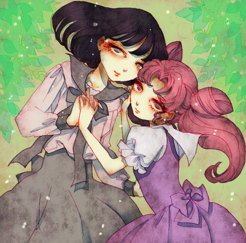 fuckyeahfemslash:  Hotaru and Chibiusa from Sailor Moon. By 258908