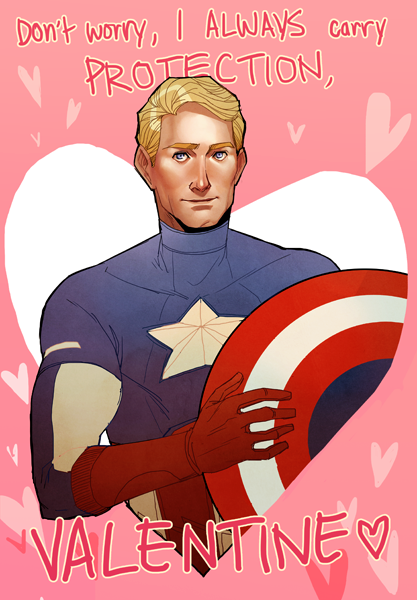 nogutsnoglory:  as yearly tradition goes, i must make a valentine with my current superhero boyfriend with a very terrible pun………… B);; Cap to Ana's Thor and Hawkeye
