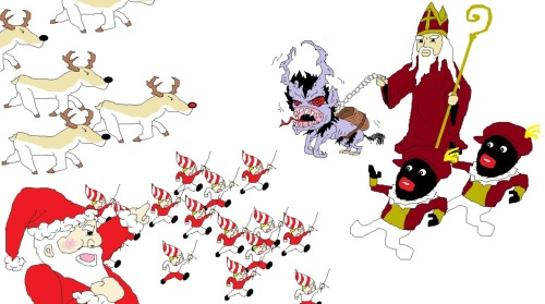 "faddlechud:  ""Santa Claus and Sinterklaas battling eachother for supremacy, Santa Claus aided by his elves and Sinterklaas aided by his black helpers? Maybe some sorta pokemon battle scenario"" I threw in some rain deer and Krampus just to spice things up a bit.  Krampus and Zwarte Piet in the same picture. Besides perpetuating the racist blackface imagery this is spatially and temporally challenged."