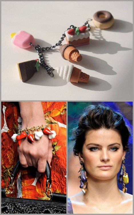 "truebluemeandyou:  DIY spring 2012 Dolce & Gabbana Inspired Charm Bracelet (DIY Top, Dolce & Gabbana BOTTOM here). Using Dollar Store Erasers… seriously clever. From Fieldguided here. Tutorial used to create the ""Desserts' Charm Bracelet"" at Lulu Frost here."