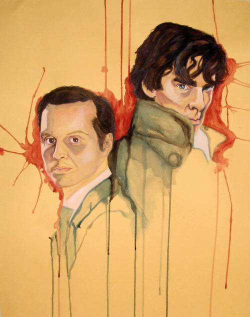 "Sherlock & Moriarty commission, final. 19 x 25"", watercolor. …terrible quality photograph, sorry."