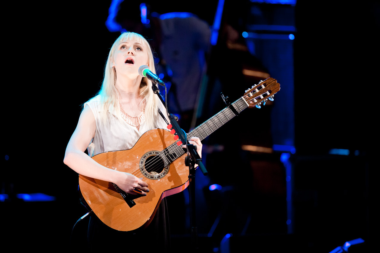 Laura Marling, singing into the rafters of Sydney Opera House concert hall last night.