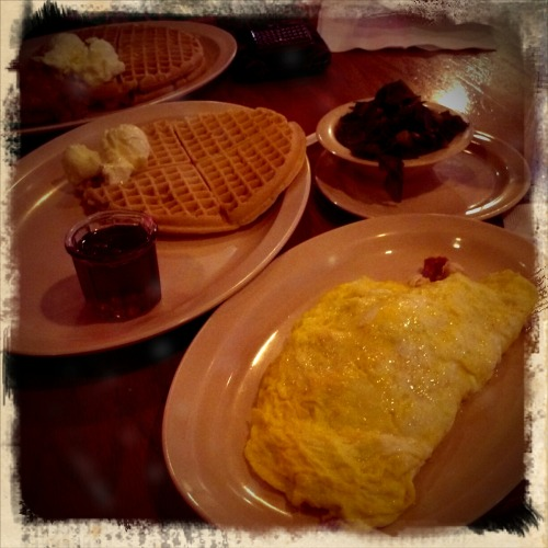 Jennie Jones Omelet w/ waffel.  Side of Greens.