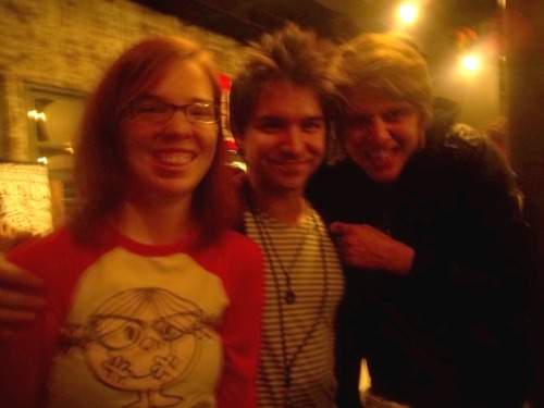Me with Wes Dimond (The Downtown Fiction) and Blonde dude (unknown band) Thanks you to my new friend @thepickles for answering my question! Blonde dude is Kyle Rodgers, The Downtown Fiction's new drummer!