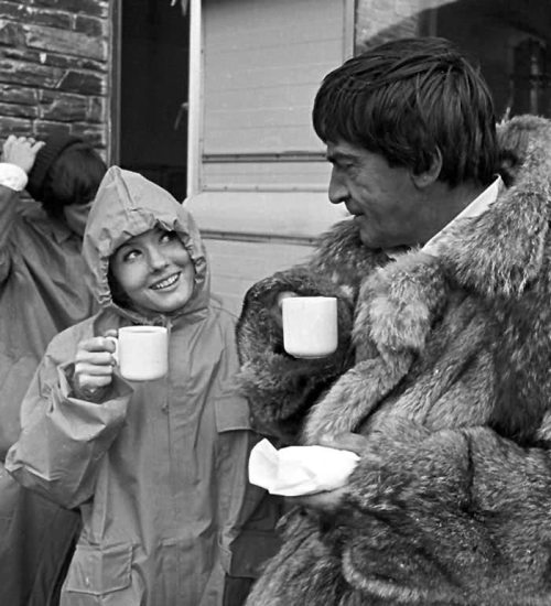 lacunaliliis:  patricktroughton:  The Doctor and Victoria between takes  Patrick Troughton and Deborah Watling with tea.