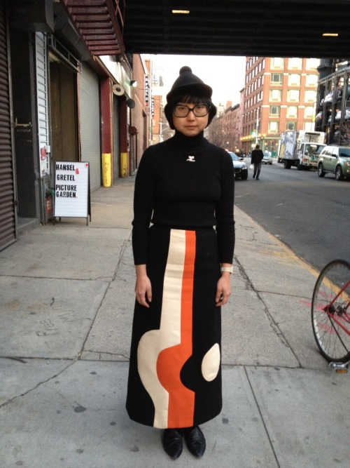 HAT - HENRIK VIBSKOV TOP - VINTAGE COURREGES TURTLENECK SKIRT - VINTAGE PIERRE CARDIN