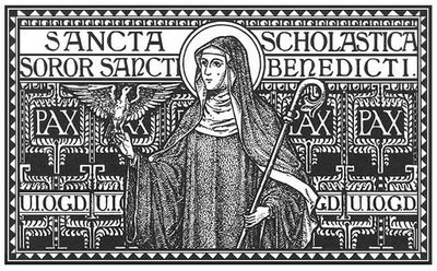 St. Scholastics, sister of St. Benedict, patroness of nuns, pray for us.