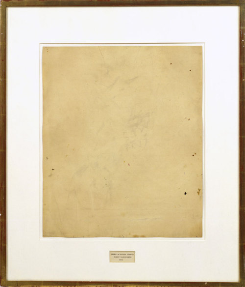Erased de Kooning, Robert Rauschenberg, 1953 Rauschenberg asked Willem de Kooning to draw something for him, then once it was finished, he (Rauschenberg) spent a lot of time erasing it.