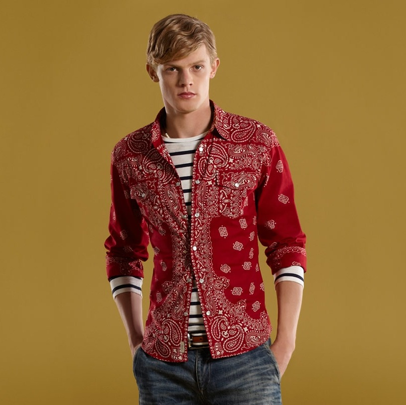 Gucci Men's Red Bandana Patch Printed Muslin Slim Shirt @ Gucci Online Boutique