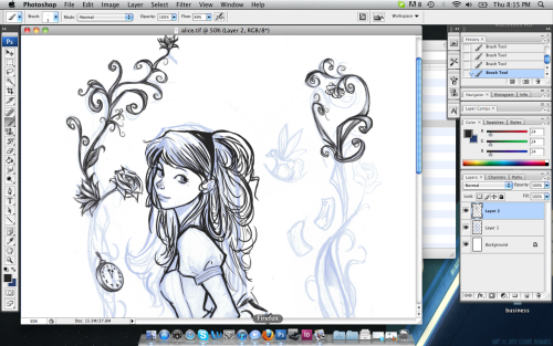 Screenshot of the Alice lineart I'm working on.