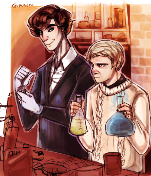 science time, or How Sherlock Learned Not To Use John's Tea For Experiments. Still trying to pin down how to draw them.
