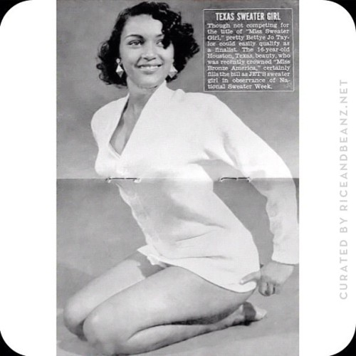 Crowned Miss Bronze America, #Pinup girl Betty Jo Taylor 1950s Jet Magazine centerfold #Vintage JetMagazine #Centerfold #1950s #Blackpinup #BackBeauty #Riceandbeanz #Santiago (Taken with Instagram at The Bronx Deco Society)