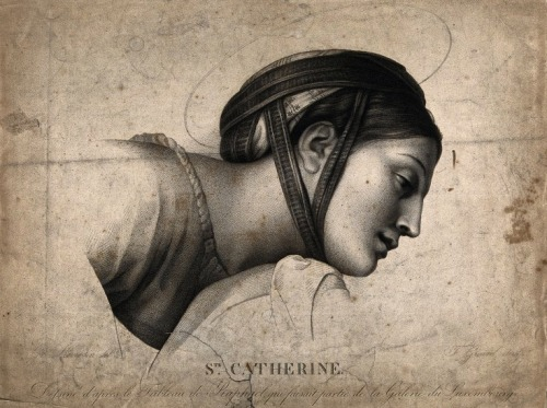 suspicions:  Saint Catherine of Alexandria. Engraving by A.F. Girard after G.F. Reverdin.