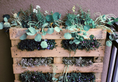 skid wall planter