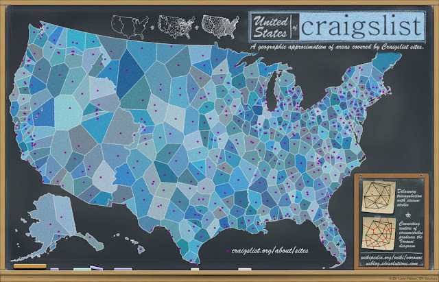Chalkboard Maps: United States of Craigslist Locality is inherent to the value of craigslist; I go to craigslist.org  but I get kicked over to the local instance of craigslist (my IP address  sources me to somewhere in the illustrious Lansing, MI).  But how does  craigslist know where to send me?   Some mysterious system of assigning a  geocoded IP address to just the right site must be in place…I wonder  what that map looks like.