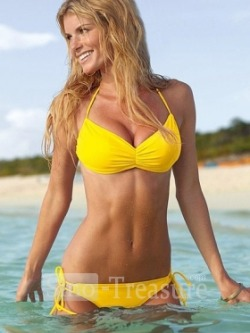 Yellow Halter Discollected Sexy Bikini Swimsuits $15.99