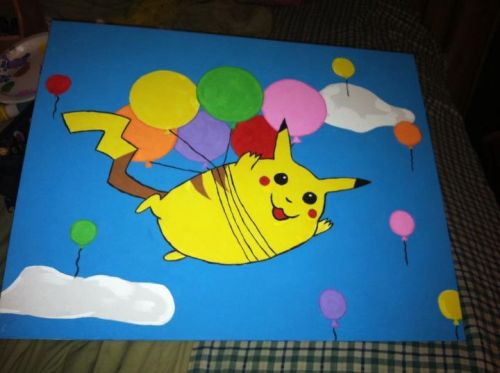 Flying Pikachu, 2011. Pikachu owned by Nintendo.       (SOLD)