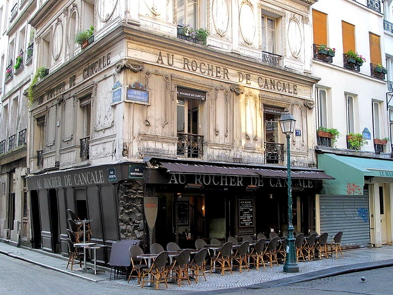 | ♕ |  Au Rocher de Cancare - Rue Montorgueil, Paris | post by ysvoice Au Rocher de Cancale is a Paris restaurant, located at No. 59 on the Rue Montorgueil, 2nd arrondissment, Paris. The restaurant has enjoyed its fame and great success during the Belle Epoch from the late 19th century to the early 20th century.Because of its location and the excellence of cuisine, the customers enjoyed the dinners after the theaters or the Opera house at Au Rocher. Coco Chanel was one of those celebrity clients in that era.photo by © Tangopaso