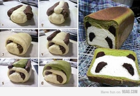 9gag:  Steps in making a panda bread…..