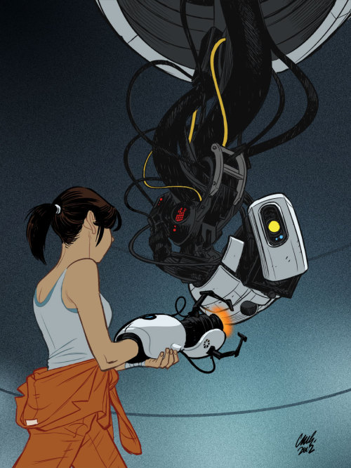 themarysue:  deantrippe:  cameron-stewart:  Chell and GLaDOS, personal work, 2012  Gorgeous.  Play nice, ladies.
