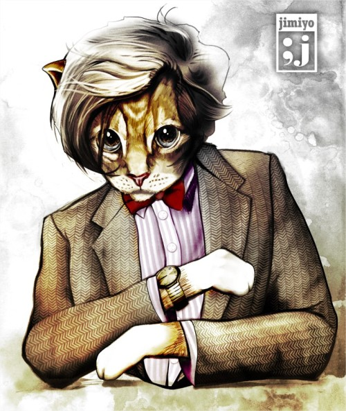 "This Doctor Who / Cat / Dos Equis mash up trio by Jimiyo is solid gold. ""I don't always draw humanoid cats, but when I do, I draw them like Matt Smith posing as the Dos Equis Most Interesting Man."" Catt Smith Deux by Jimiyo (Facebook) (Twitter) Via: jimiyo"