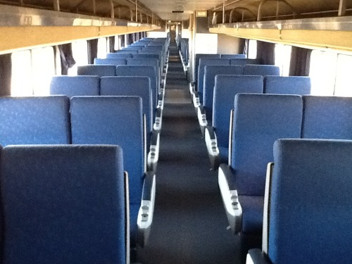 "The Ghost Train After the majority of coach passengers elected to continue the trip by buses provided by Amtrak, the few remaining were upgraded to empty rooms in the sleeper cars.  By the time we were underway again on February 8, 2012, at 1p. we had some 27 passengers in two sleeper cars and the three empty coach cars pictured here.   The cars were located behind the lounge or observation car and when I discovered that the restroom in the lounge car was closed, I used the one in this car, the closest restroom to the observation car.  That was a mistake. The car stewart cleaning the coach cars read me the riot act on how this area is off-limits!  Suddenly, I am in the army? In my defense, and to avoid being sent to the Captain's office, I reported that the restroom in the lounge is closed.  ""You have several restrooms in the sleeping cars,"" he said in a tone that his personal frustrations with the delay leaked out all over his clean coach cars.   Soon afterwards, it was announced that the cars are closed for cleaning and ""off-limits."" From then on we referred to ourselves as being on the  ""the ghost train!"""