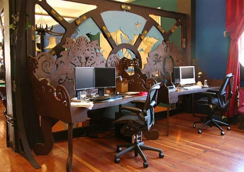 embracingthedesignnerdwithin:  A steampunk inspired office.