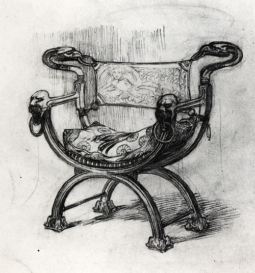 artemisdreaming:  Armchair for Foquet's Shop, 1900 Alphonse Mucha