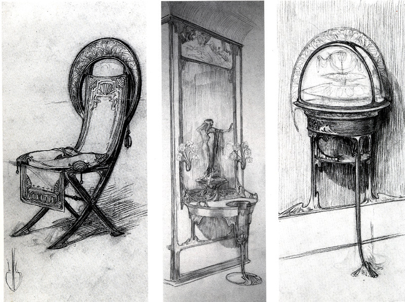 "artemisdreaming:  Chair, Table and Interior Sketches for Fouquet's Shop, 1900 Alphons Mucha Detail .                                                                      .  The association between Georges Fouquet and Alfons Mucha brought forth a further sensation: the frontage and fitting of Fouquet's jeweller's shop in the rue Royale in Paris. The Boutique Fouquet was the only commission of this type ever executed by Mucha. The result was a prime example of the synthesis of art as propagated by the protagonists of Art Nouveau, while at the same time providing a fitting, shrine-like, extravagant setting for the costly wares of the celebrated jeweller. The furniture rich in carvings and bronze fittings, tumid and sculptural in form, the coloured decorative glazing, the monumental murals and ornamental sculptures together created a theatrical and extravagant splendour in total accord with Mucha's stylistic predilections. Unfortunately this splendour was not to endure: as early as 1923, Georges Fouquet decided to refurbish his shop. All the decorative fittings were dismantled, some of them later finding their way to the Musee Carnavalet in Paris.  .   In the facade and interior decoration of Georges Fouquet's jeweller's shop, Mucha united decorative sculpture and painting, stained glass and sculptural furniture with bronze fittings to form a light-heartedly exotic environment. The design was thought out to the last details of door-knobs and fascia, and thus not only paid homage to the ideal of a ""synthesis of art"", but at the same time revealed the decadence of the period. However Mucha's creation at no. 6, rue Royale, lasted no longer than 1923, when it fell victim to a refurbishment. Parts of the original found a new home in the Musee Carnavalet in Paris.  all-art.org   .   Interior decoration for Boutique Fouquet, 1901  Large image: HERE .  Facade of Boutique Fouquet, 1901, Large image: HERE ."