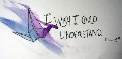 "19/1000: Anonymous: ""I wish I could understand."""