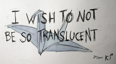 "20/1000: Anonymous: ""I wish to not be so translucent."""