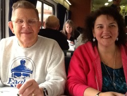 Richard and Kathy at lunch Tuesday, February 7, 2012   Kathy's husband is coming from Del Rio to pick her up, it's about three hours away. They moved to Del Rio, Texas, from the Seattle area some dozen years ago and would love to return to the northwest. Richard had a cochlear implant 13 years ago on the Veteran's Administration's dime due to a service related injury and the Aberdeen Proving Grounds.  He worked for TWA as a mechanic, wearing hearing aids, until it was sold.  His wife died three years ago and his current goal is to travel on every Amtrak route — seems I didn't ask how he was doing with that goal. My excuse is that I was totally absorbed in his story of his brother who was a high ranking member of  the German American Bund organization that promoted a favorable view of Nazi Germany.  Richard remembers his German born father taking both of the boys to rallys in the late 30s in the Brooklyn area — the banners, flags and crowds made quite an impression on Richard.  But for his brother it resulted in a call to action.  He was eventually arrested for acts of sabotage and given the opportunity to turn counter spy that he accepted and went on to help expose the east coast operation.  A totally charming and friendly man, celebrating 81 years. I send out wishes for safe travels to Richard.
