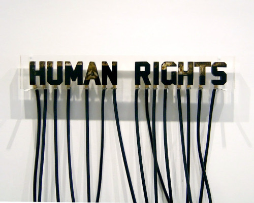 "visual-poetry:  ""human rights"" by andrei molodkin  By transforming oil from an organic resource into an aesthetic form, the artist raises important questions regarding the role of oil within our contemporary Western culture. He explores the clash between culture, religion, economy and politics when he uses recognizable religious images or cultural iconography as his subject matter. Molodkin believes that the oil industry is the flesh and blood of Western economy and he comments on how a national resource can become a national identity. (wikipedia)"