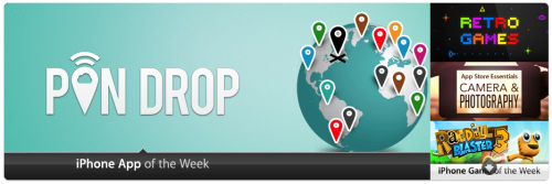 Pin Drop has been made iPhone App of the Week in the UK! Thanks once again to all of our fantastic users. We couldn't have done this without you :)
