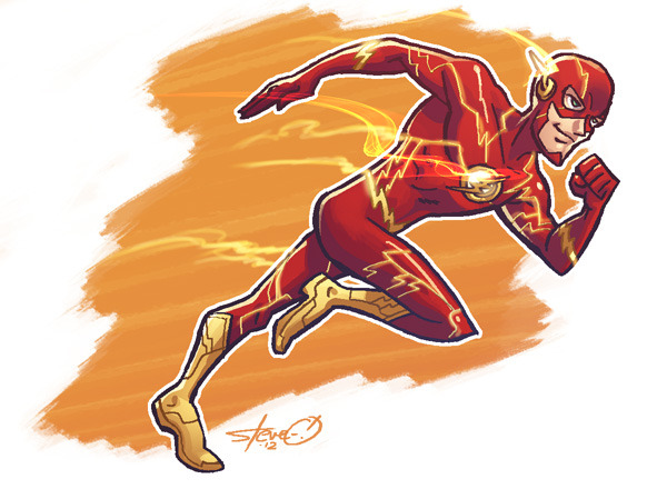 Last night's warmup. The Flash! That new costume has really grown on me. 40min, all digital.