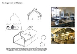 Kitchen Forms - Inspired by Bronze age cooking hut. Natural ventilation is the key driver to finding the form.