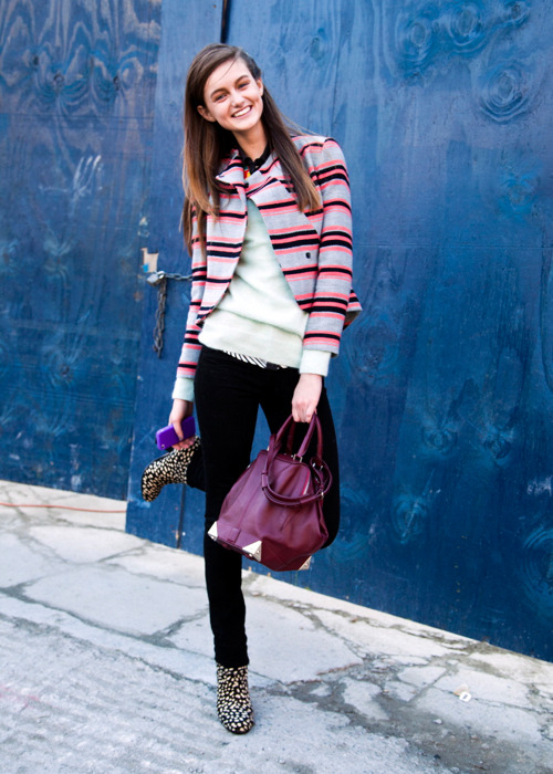 Andie Arthur on Day 1 of NY Fashion week looking cute and layered in a Thakoon jacket, Rag and Bone boots, and Alexander Wang bag.