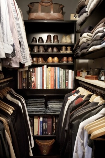 Fantastic masculine closet. The lighting is nice, wood is a great color, and I really want the clothes. Follow CollegeGuyDesign if you like things like this showing up on your dash!