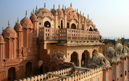 Backside view of Palace of the Winds in Jaipur, India.