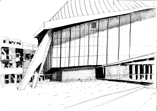 A drawing from a while ago of the Commonwealth Institute in London, soon to become The Design Museum
